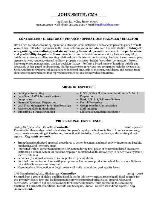 examples of an objective summary on a controller resume