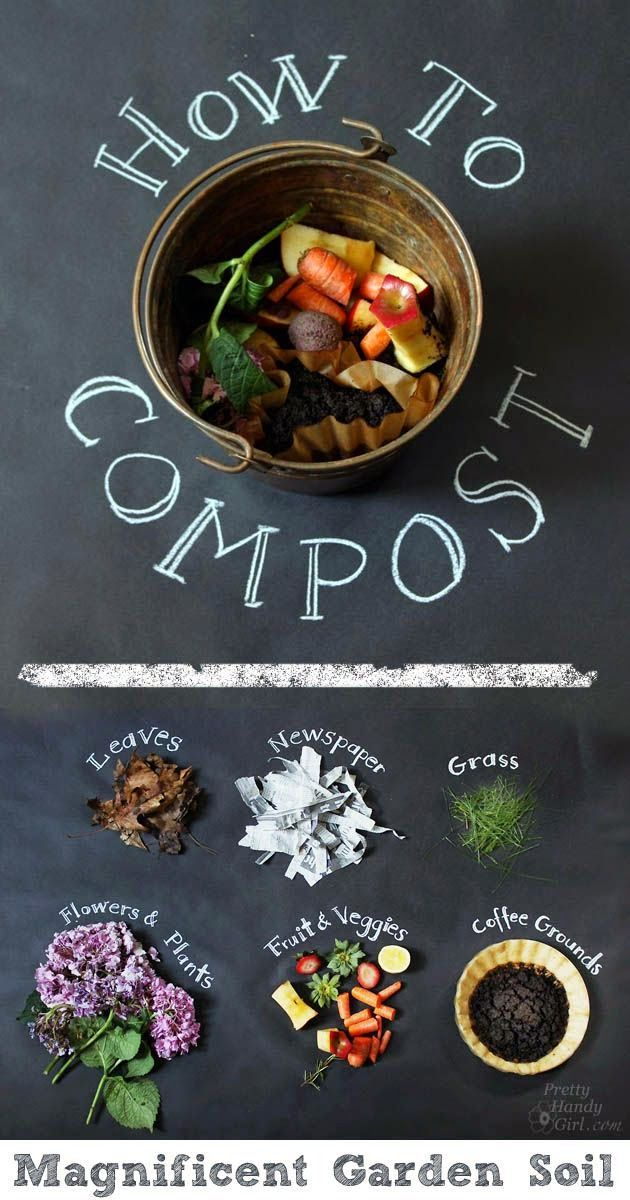 For my composting bin at the back: How to Compost – food scraps, coffee grounds, leaves, and of course…a few worms.