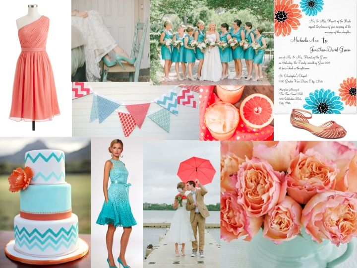17 Best Images About Coral & Malibu Blue Wedding On