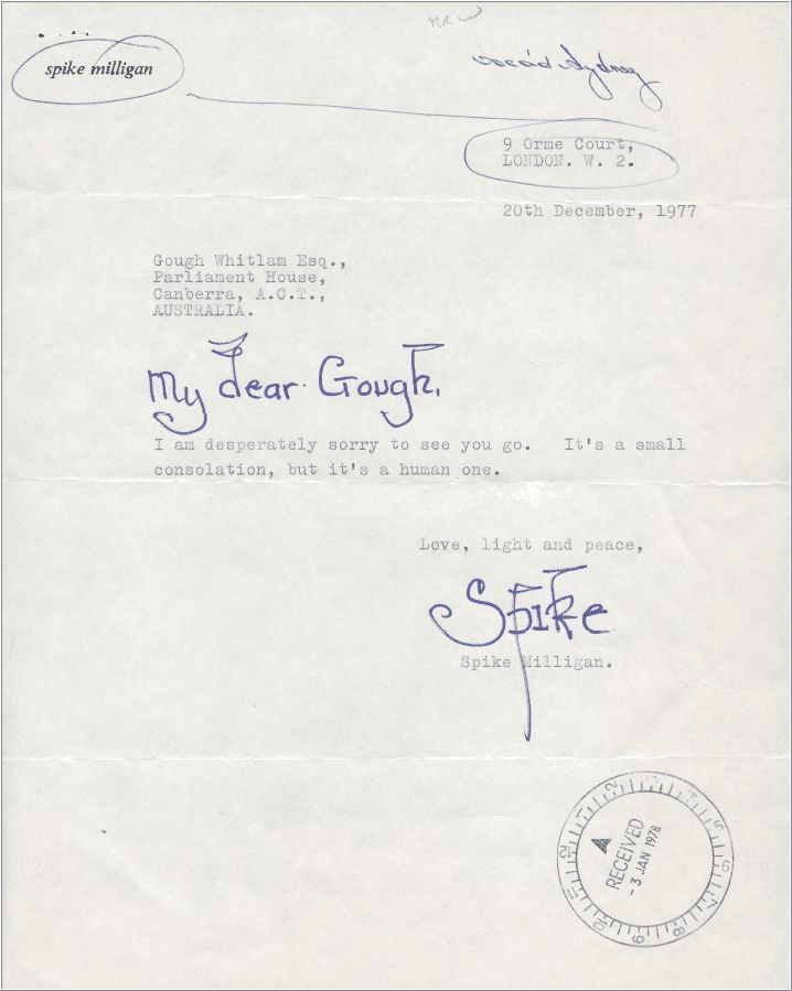 Letter from Spike Milligan to Gough Whitlam From Gough