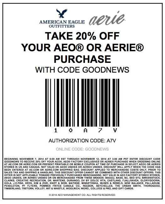 American Eagle has coupons and discounts for November 2014