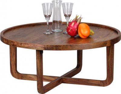 Wohnling Wohnling Couchtisch Massiv Holz Sheesham Rund Cm Wohnzimmer Tisch Design Dunkel