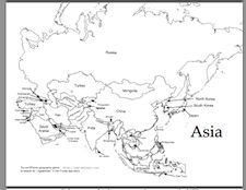 Free printable map of Asia, along with latitude longitude