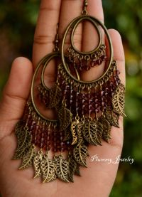 Large exotic bohemian chandelier earrings, Exotic ...