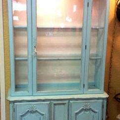 Antique White Kitchen Cabinets Menards Lighted China Cabinet Robin Eggs Blue Chalk Paint And Wax ...