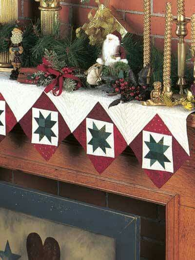 Quilted mantel scarf  Fireplace mantel scarves  decor