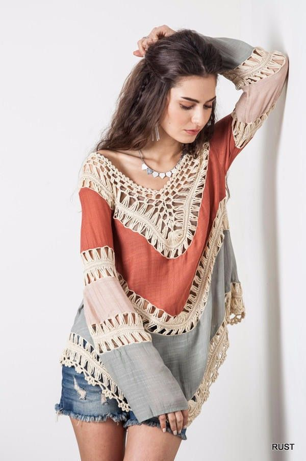 Orange and Gray Colorblock Blouse: