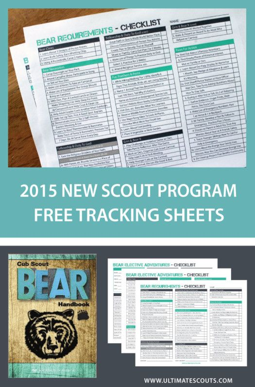 Cub Scouts Bear Tracking Sheet Printable For Scouts