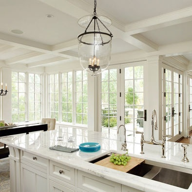 White kitchen with lots of windows 10 Light french doors