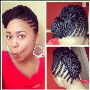 flat twist updo with hair added