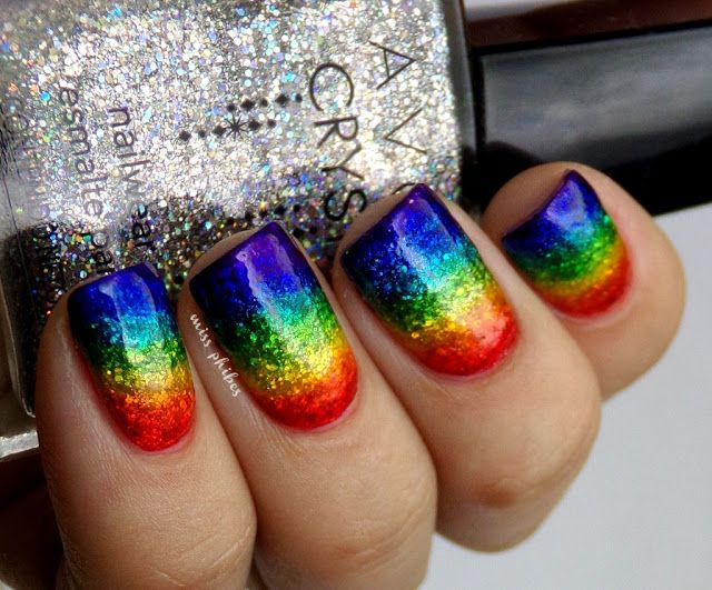 25+ best ideas about Rainbow nail art on Pinterest
