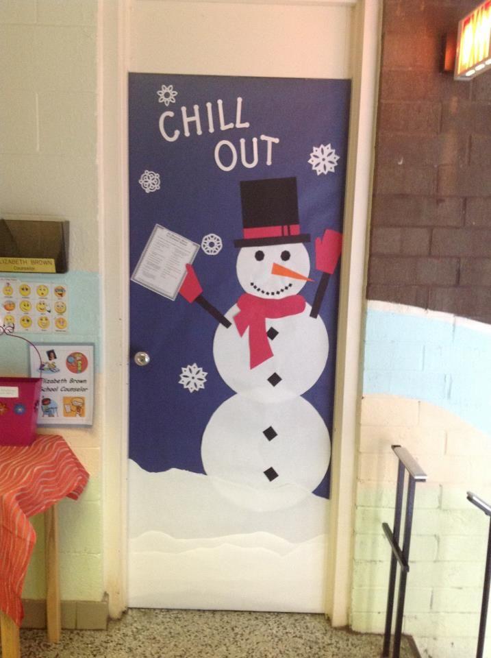Office Door: Snowman Office Door Decoration