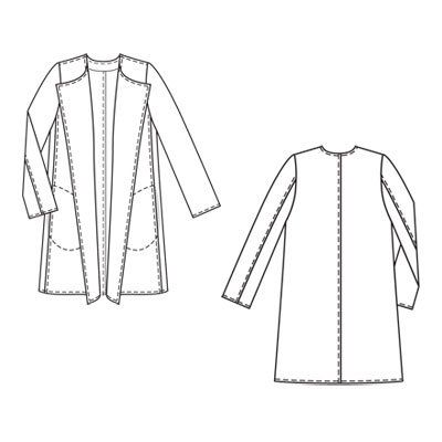 Pattern coat without collar: summer option and straight