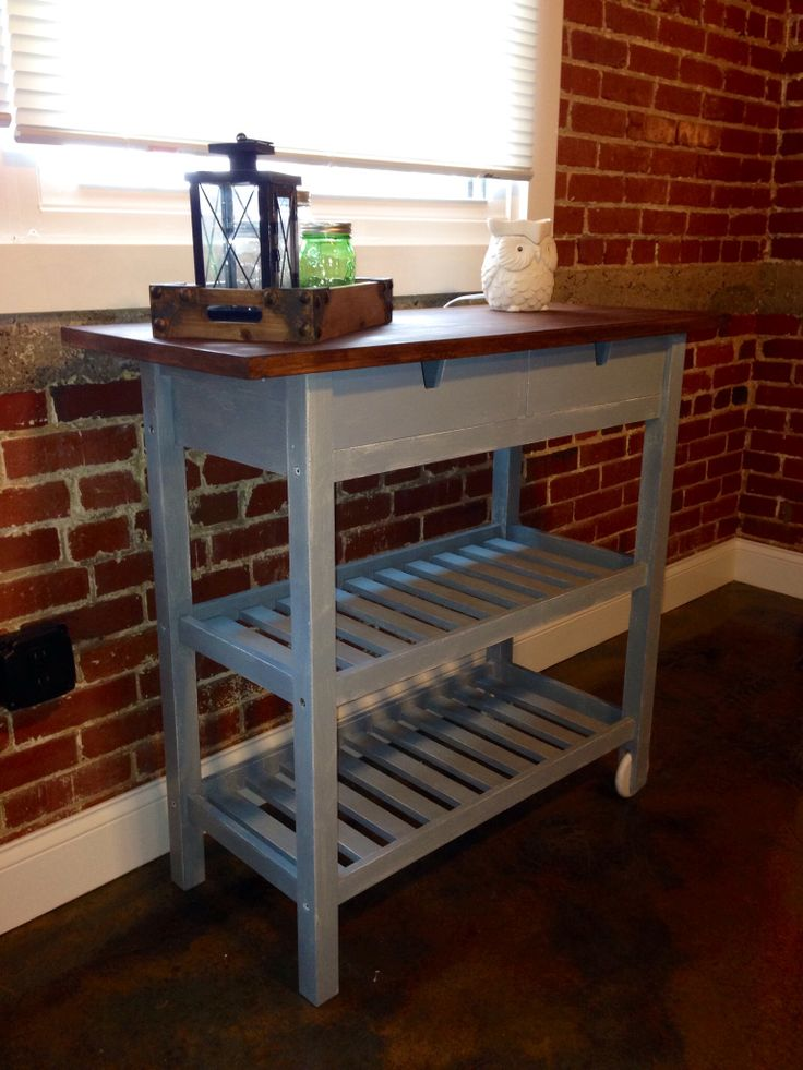 ikea forhoja kitchen cart that i painted with miss mustard seeds milk paint in curio