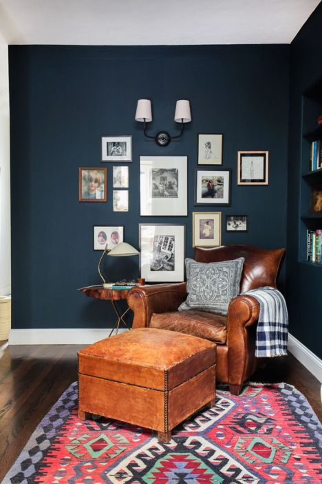 Emily Henderson_Hague Blue Reading Nook_Leather Chair_Gallery Wall_Bookshelves5: