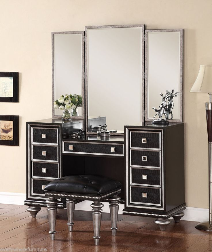 Hollywood Regency Glam Mirrored Console Cabinet Vanity