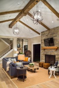 Cozy, contemporary rustic family room: Stone fireplace ...