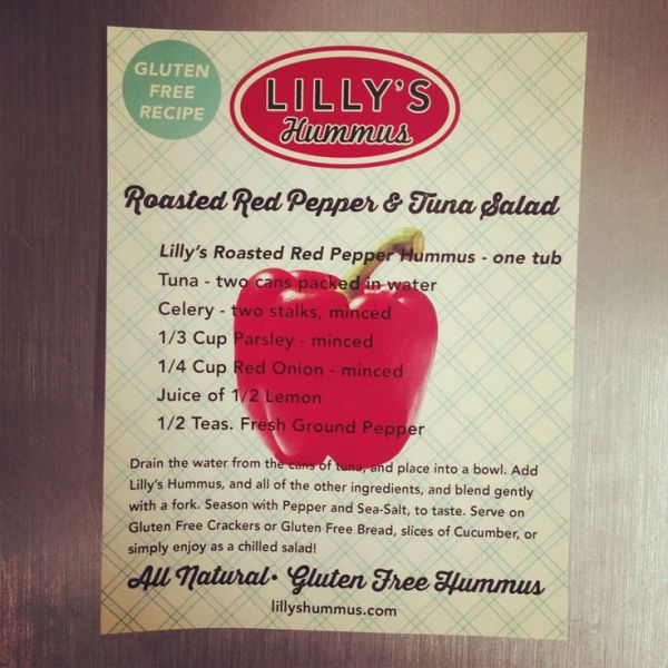 Lilly39s Hummus recipe card for Tuna Salad made with their