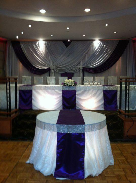 Wedding Reception Head table  bling ribbon table