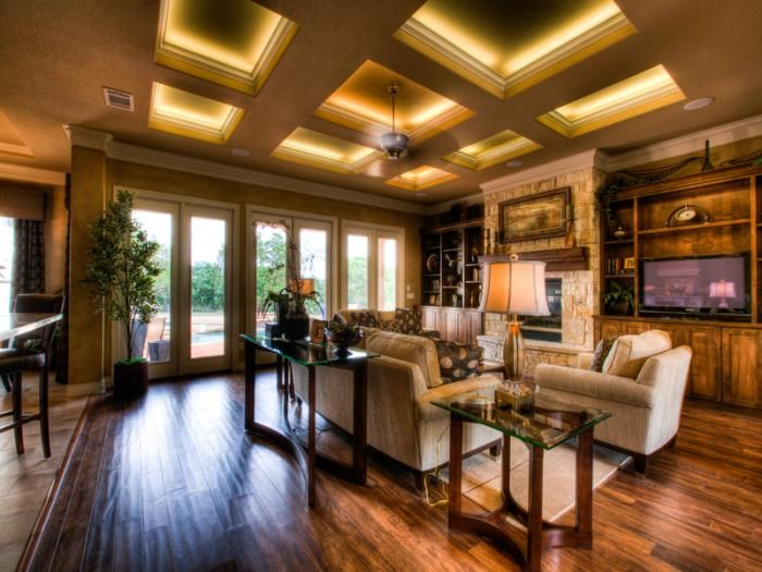Coffered ceiling with LED strip lighting behind molding