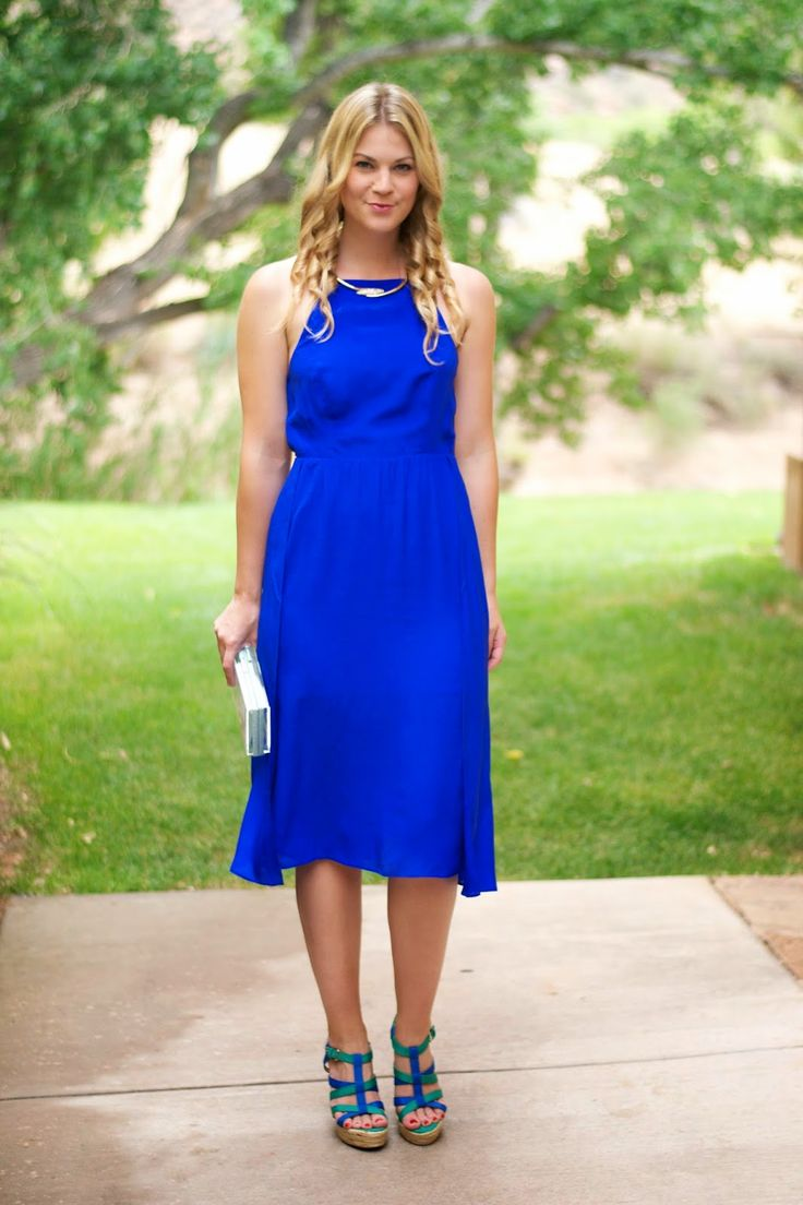 The perfect wedding guest attire Knee length cobalt blue dress and wedges  Wedding Style