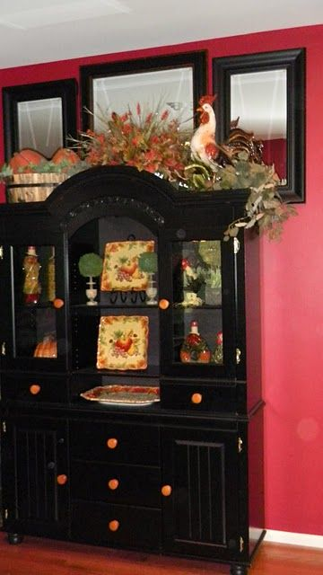 Fall Decorating For China Cabinet Dining Room Makeover Pinterest Cabinets Dark Wood And