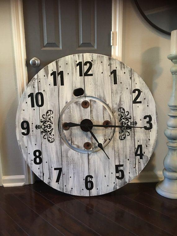 Large Rustic Farmhouse Spool Clock Large Rustic