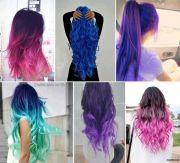 colorful hair black pink blue purple