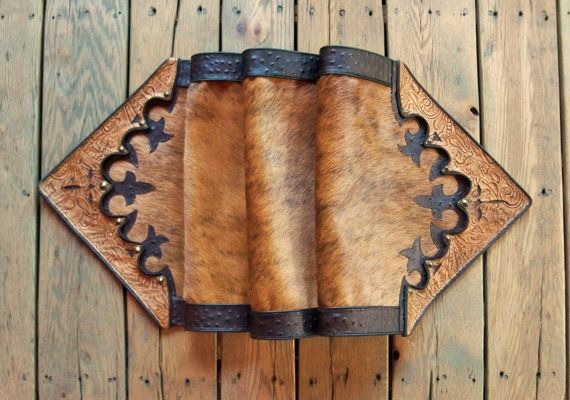 Western Leather Table Runner Home Decor Vintage Style Tan