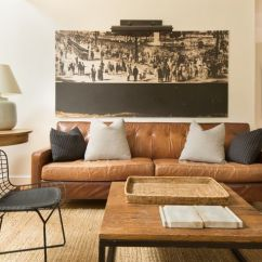 Colour Schemes For Living Rooms With Brown Leather Sofa Tiles Room Walls Color Scheme: Caramel Couch, Natural Fiber Rug ...