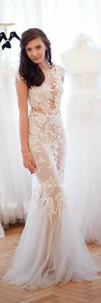 sheer, lace-applique wedding dress | Wedding Dresses ...