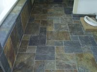 Slate Tile Bathrooms. Trendy A Custom Pebble Tree And ...