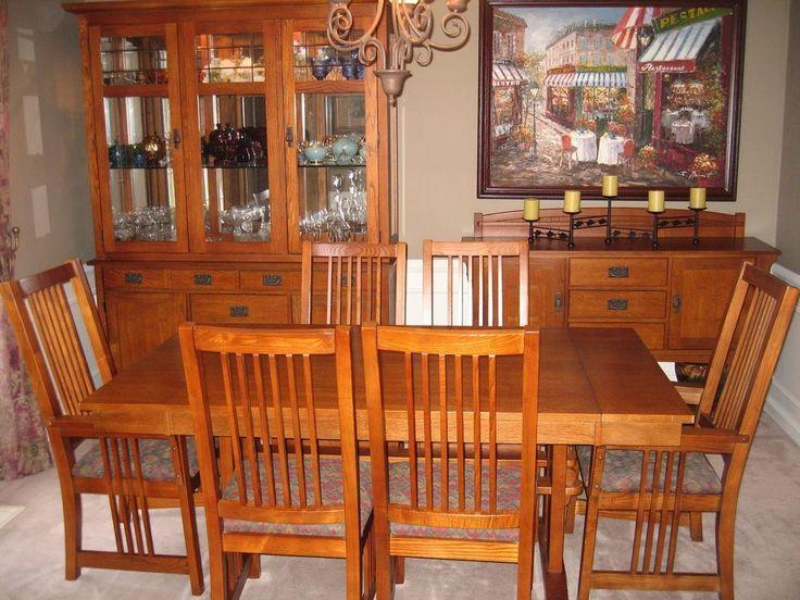 Bassett 9 piece medium oak dining room set lighted hutch