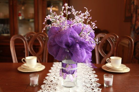 Custom deco mesh centerpiece for parties weddings by