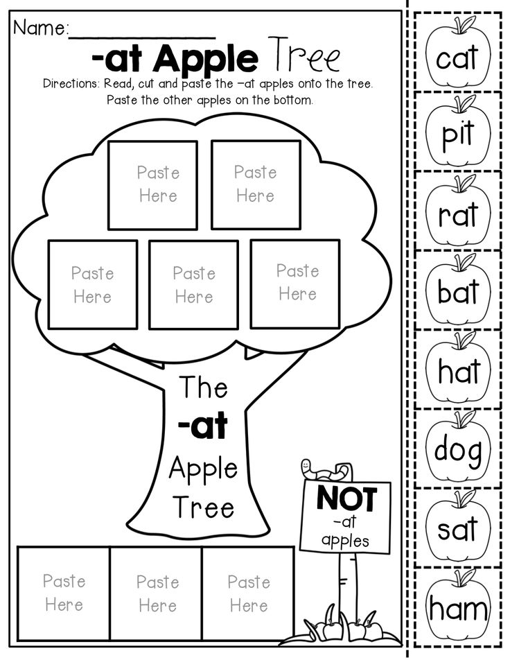 CVC Word Family Apple Trees NO PREP (Cut and Paste
