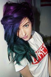 purple & blue green hair