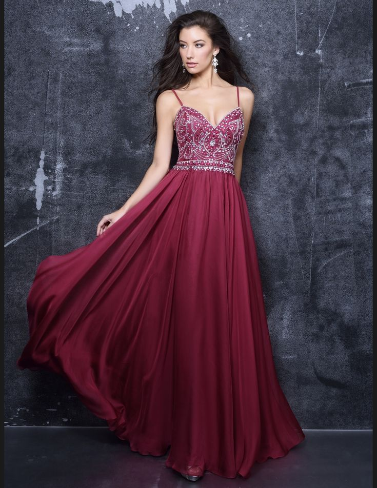 beautiful burgundy flowy prom dress available at Hopes Bridal  2017 Prom Dresses at Hopes