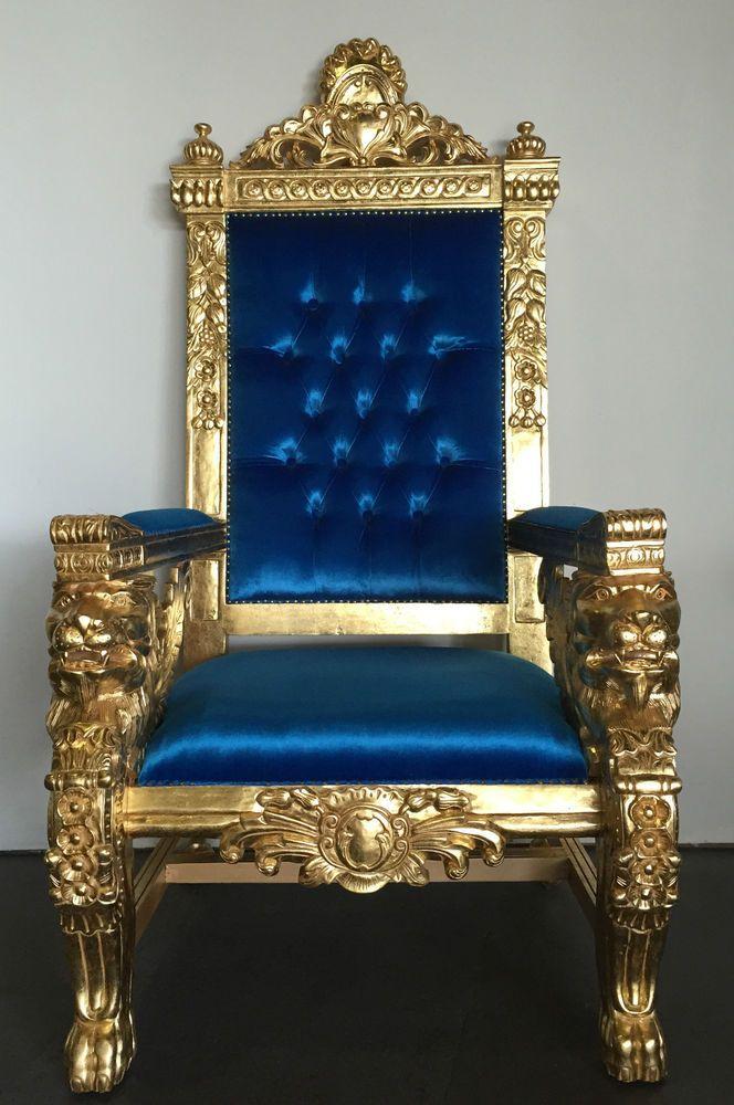Hollywood regency royal blue  gold xl lion head king