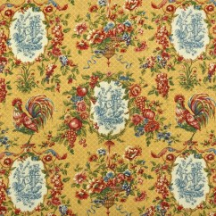 Waverly Kitchen Curtains Dornbracht Faucet Saison De Printemps Saffron Fabric. | Toile Fabric ...