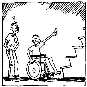 cartoon: wheelchair user at the bottom of a flight of