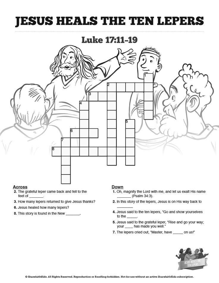 Luke 17 Ten lepers Sunday School Crossword Puzzles: Both