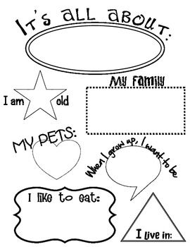 All About Me Worksheet. Teacher can fill it out or have