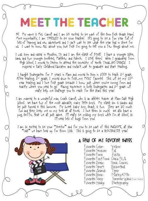 parent letter template for teachers
