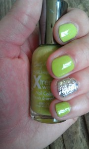 lime green nails with silver glitter