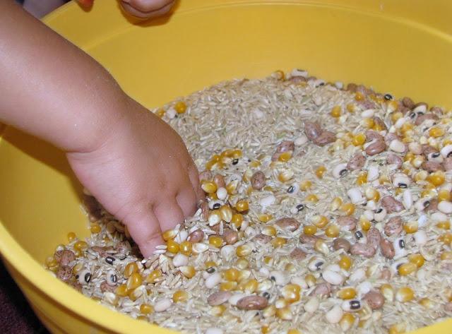 Sensory bucket made of rice beans and corngreat idea  Preschool Science  Pinterest  Rice