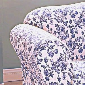 Sure Fit Shabby Cottage Toile Navy Blue Floral Sofa