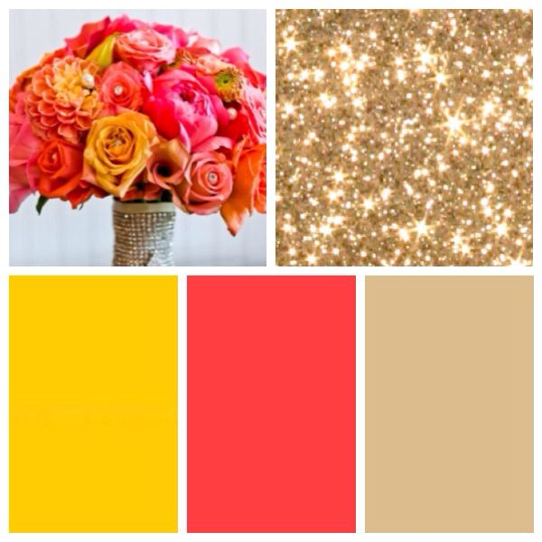 Coral wedding colors  Coral and Champagne  Pinterest