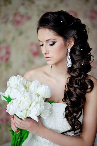 Long wedding hairstyle with side curls Bridal Accessories  Try Amber Sceats httpstcfjump