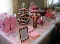 Pink baby girl shower dessert bar   Baby Desserts (Bakery ...