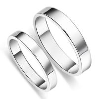 Simple S925 Sterling Silver Mens Ladies Couple Promise ...
